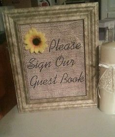 Burlap Wedding Vintage Sunflower Decor Sign Our Guestbook In 2019 Wedding Reception Centerpieces, Wedding Table Centerpieces, Sunflower Table Centerpieces, Sunflower Decorations, Burlap Wedding Decorations, Reception Table, Wedding Receptions, Wedding Signs, Our Wedding