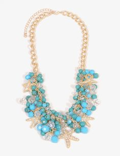 Turquoise & gold starfish necklace - Bridesmaids