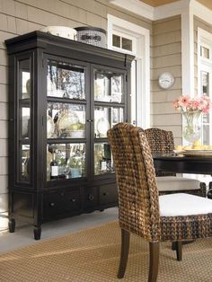 Midnight Black China Cabinet Hutch