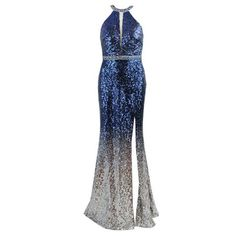 Mascara Navy Silver Sequin Embellished Long Dress ($345) ❤ liked on Polyvore featuring dresses, navy white dress, navy sequin dresses, white dresses, open back sequin dress and long navy blue dress