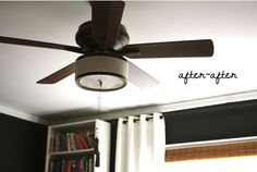 Ceiling fan hidden in shade finally me and my husband can agree diy ceiling fan makeover with drum shade diffuser and black trim mozeypictures Images
