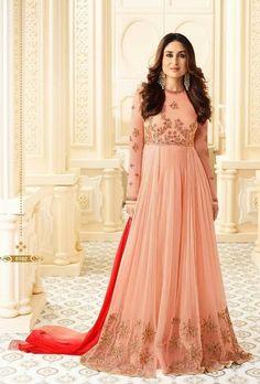Peach Designer Party Wear Anarkali Suit