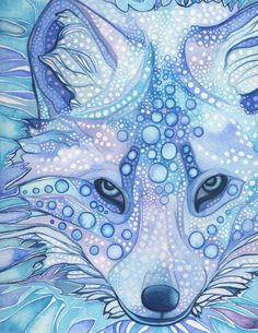 ARCTIC FOX 8.5 x 11 print of detailed watercolour in whimsical surreal and psychedelic blues. $45.00 (w/shipping), via Etsy.