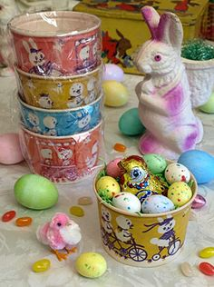 Easter treat cups (vintage cottage cheese containers)