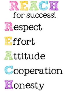 FREE-REACH for success! Respect, Effort, Attitude, Cooperation, Honesty (Use this on 'Successful Student' bulletin board-AL)