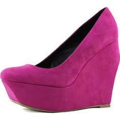 Womens Qupid Taken-01 Velvet Wedges High Heel Fashion Shoes | Fuchsia Pink Shoes