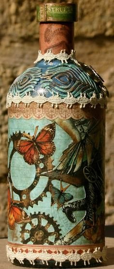 Scrapping On The Edge altered bottle with G45 papers and a bonus project