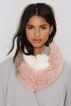 Color Block and Roll Infinity Scarf - Accessories