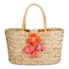 Women's Medium Straw Tote Handbag with Hot Pink Poms - Merona™