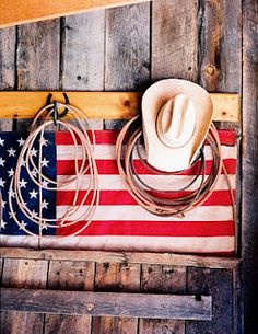 Cowboy gear and the red, white and blue
