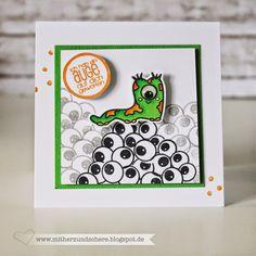 Kleines Monster auf einem Augenberg von Create a smile, Birthdaycard, Card, Craft, Stamping, Papercraft, Copic