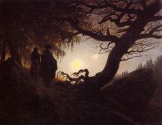 Tableaux sur toile, reproduction de Friedrich, Man And Woman Contemplating The Moon, 34x44cm