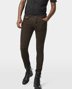 The Kooples - Velvet biker jeans with padding and zip details