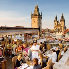 In the evening, grab drinks at Hotel U Prince's gorgeous rooftop terrace.  For a lovely view of the twinkling Old Town Square the rooftop bar is the place to be. After your drinks are downed, head back downstairs to the cozy Black Angel's Bar.