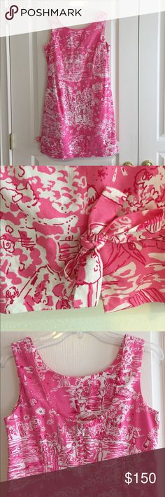 Lilly Pulitzer Shift Dress Lilly Pullitzer shift dress with bow details in Skinny Dip print. Size 4. Worn once. No tags. Make an offer! Lilly Pulitzer Dresses
