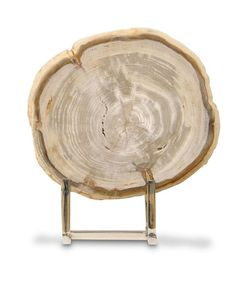 Sliced Petrified Wood w/ Stand - Large - Decorative Objects: An exquisite, large slice of legally harvested, authentic petrified wood hand cut and polished to luscious shine makes for a stunning conversation piece when perched on a shelf in your office or on a living area console. Each slice uniquely one of a kind, varying in size pattern and color. Natural textures like cracking will appear. Stand is a stainless steel base.