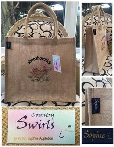 Range of gifts designed by Sophie Appleton Artist. Printed and Embroidery Tote Bags. Swirls, Shopping Bag, Reusable Tote Bags, Embroidery, Chicken, Country, Prints, Design, Needlework