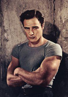 "Brando as Stanley Kowalski - publicity shot for ""A Streetcar Named Desire"" recoloured"