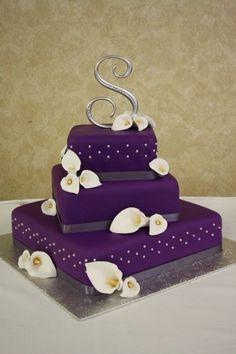 wedding cake - purple wedding cake with hand made calla lilies www. - wedding cake – purple wedding cake with hand made calla lilies www. Purple Cakes, Purple Wedding Cakes, Elegant Wedding Cakes, Beautiful Wedding Cakes, Gorgeous Cakes, Pretty Cakes, Amazing Cakes, Trendy Wedding, Wedding Flowers