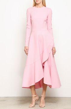 High/Low Ruffle Hem Stretch Wool Midi Dress, video thumbnail
