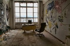 An abandoned office in a old meat factory in Berlin