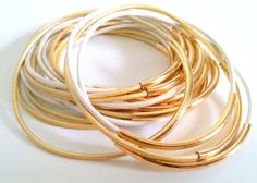 Summer Stackable Bangle Bracelet Set with Silver by CorinnaMaggyDesigns, $23.00