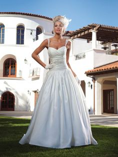 A-line Sweetheart Pleated Bodice Beaded Strap Dropped Waist Satin Wedding Dress-wa0239, $254.95