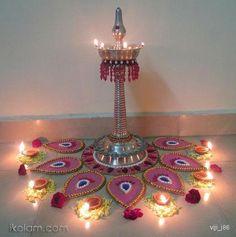 Lights and celebration Rangoli Designs Flower, Rangoli Ideas, Flower Rangoli, Beautiful Rangoli Designs, Diwali Decorations At Home, Festival Decorations, Flower Decorations, Ganapati Decoration, Decoration For Ganpati