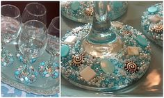 stemware with beads (look a little like my votives!)