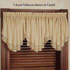 Elegance Sheer Layered Ascot Valance in 2019 Curtains, Valance Patterns, Curtain Decor, Elegant Curtains, Home Curtains, Curtains And Draperies, Lace Window, Valance, Kitchen Curtain Designs