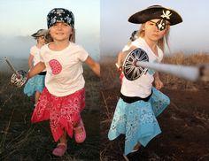 pirate day crafts - bandana skirt, rolled newspaper pirate sword