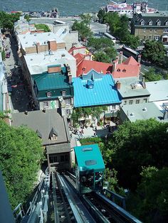 Looking Down Quebec City's Funicular Railroad