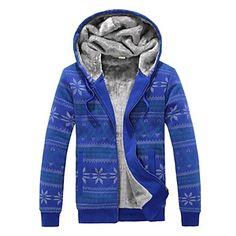 Los hombres adelgazan el suéter Moda Hoodies Imprimir Piel Gruesa – USD $ 44.09