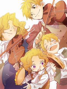 "The artist did a fantastic job of capturing motion. (""FACE Family musical ensemble - Art by るんこ"")"