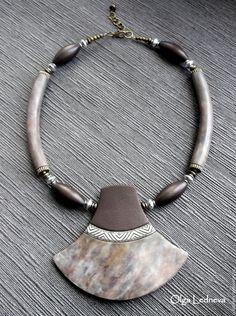 Купить Колье из полимерной глины. - коричневый, серый, колье, колье ручной работы, камни, подарок