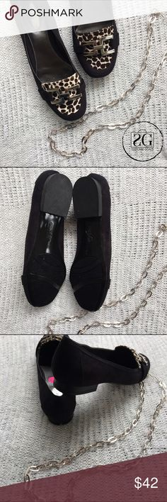 """Faux Suede Black & Leopard Loafers. 💢Trend alert!! These loafers are a must in your closet. Excellent condition. Worn once indoors. Great for a casual day of running errands or a comfortable look in the office. Extremely comfortable step n flex & padded insole. 1/2"""" wedge. Could fit 8-8.5. One small mark on the back of one heel, not noticeable when on. Alfani Shoes Flats & Loafers"""