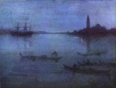 Whistler, James Abbott McNeill - Nocturne in Blue and Silver, The Lagoon, Venice - Impressionism - Landscape - Oil on canvas