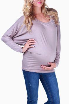 Mocha Basic Long Sleeve Maternity Top