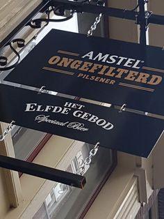Mooi nostalgisch #horeca #uithangbord geleverd bij Het Elfde Gebod in #Amsterdam. Provence, Amsterdam, Signs, Decor, Decoration, Shop Signs, Decorating, Aix En Provence, Sign