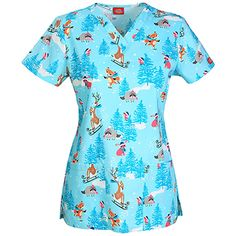 Everyday Scrubs Signature By Dickies Women's V-Neck Winter Animals Print Scrub T