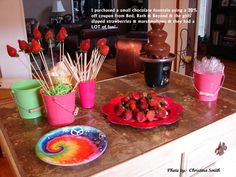 slumber party dessert idea: chocolate fountain with fruit & marshmallows on skewers