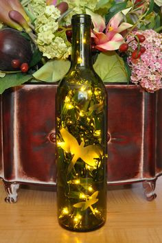 Dragonfly Etched Lighted Wine Bottle Lamp by TipsyGLOWs on Etsy, $15.00