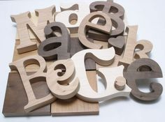 Specialty Wood Letters in Maple, Alder, Hickory, and Walnut.