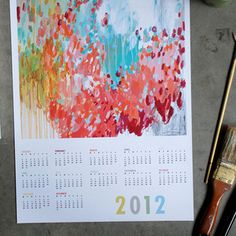 13x19 inches, year calendar for 2012 featuring my Trellus painting. Signed. Printed with archival inks on fade-proof art paper.    Next year, just cut off the calendar part, and you have a signed print. What a deal!