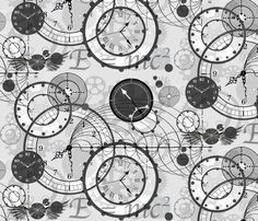 Time travel theme fabric from Spoonflower. I think I need to plan a quilt around this!