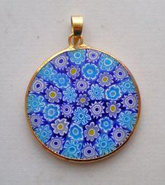 18K 750 Yellow Gold Murano Millefiori Venetian Blue Glass Pendant Charm 3.4 g #Pendant