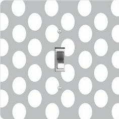 """Rikki KnightTM Grey Polka Dots - Single Toggle Light Switch Cover by Rikki Knight. $13.99. Washable. Masonite Hardboard Material. For use on Walls (screws not included). Glossy Finish. 5""""x 5""""x 0.18"""". The Grey Polka Dots single toggle light switch cover is made of commercial vibrant quality masonite Hardboard that is cut into 5"""" Square with 1'8"""" thick material. The Beautiful Art Photo Reproduction is printed directly into the switch plate and not decoupaged whi..."""