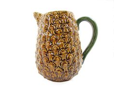 Olfaire Majolica Art Pottery Pineapple Pitcher Made by WhatnotGems