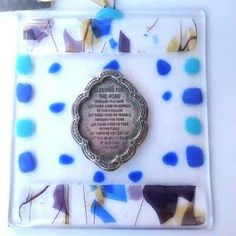 Judaica Home Blessing Fused Glass blue colors by Silvinadesigns, $35.00 #glass #fjudaica