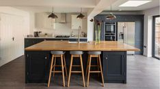 Old Factory pendants by Industville- a beautiful residential design by Debbie Wolfe Wolfekinch and Shaker Kitchen Company Closed Kitchen Design, Open Plan Kitchen, Kitchen Ideas, Country Kitchen, Kitchen Dining, Kitchen Island, Dining Room, Blue Kitchen Interior, Luxury Interior Design